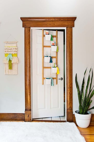 plant pot display as DIY storage unit made from solid wood