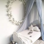 Princes Bed Canopy Idea In Light Blue Single Bed Frame With Headboard And Footboard In White White Shug Rug White Butterflies Wreath Decoration For Walls