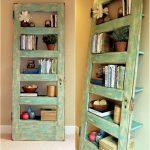 Repurposed Wood Door Panel For Book Shelving Unit