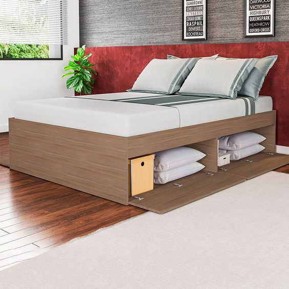 shelves under bed with wood door panel