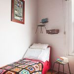 Small Bedroom Idea With Tiny Bedside Table Wall Mounted Tiny And Lightweight Chair For Additional Storage Solution Suitcase Side Table Mounted On Wall