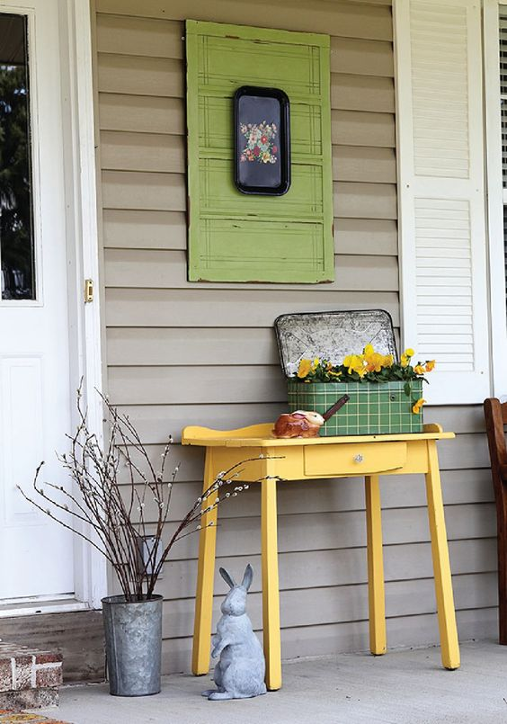 small veranda idea yellow table for housplant suitcase planter for houseplant