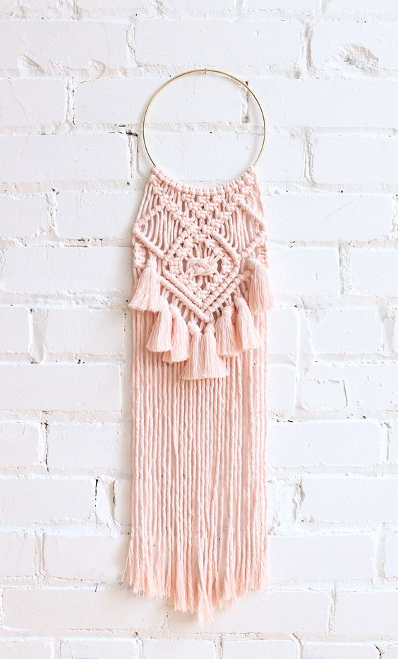 soft pink macrame wall hanging