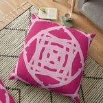 Sweet Pink Floor Cushion Modern Geometric Runner With Fringed Tassels