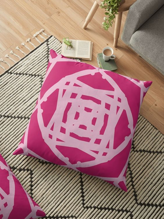 sweet pink floor cushion modern geometric runner with fringed tassels