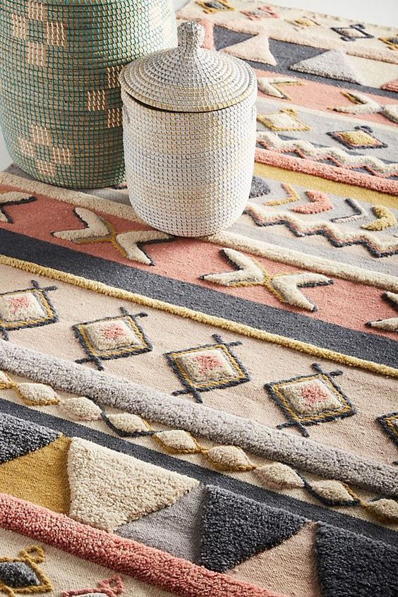 textured and colorful geometric area rug