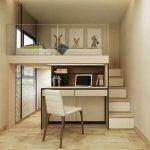 Tiny Teenage Boy's Room Furnished With Modular Furniture Set