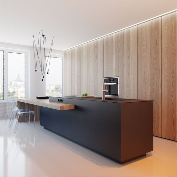 ultra modern and minimalist kitchen design full wooden cabinets with recessed electric kitchen utilities large kitchen island with sink and faucet integrated wood bar table clear acrylic bar stools