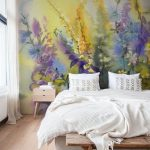 Watercolor Mural Idea White Bedding Linen White Blanket Wooden Bench Bed Wooden Bedside Table In Midcentury Modern Style Simple Vintage Area Rug With Tassels