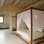 Wooden Bed Frame With Canopy And White Net