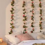Young Girl's Bedroom With Rose Vines Blooming White Bed Treatment Crisp White Walls
