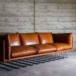 Millipede Sofa With Brown Leather Cushion And Multi Metal Legs