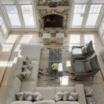 Beach House Idea Modular Sofa In White Dark Tone Coffee Table Gray Additional Chairs Two Additional Side Tables Stone Fireplace
