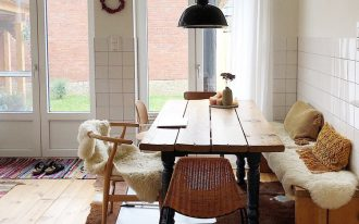 eat in kitchen wooden dining table with black legs light wood dining chairs natural wood bench seat medium size industrial pendant with black lampshade cowhide rug wood plank floors