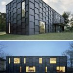 Elegant And Bold Black Exterior Walls Built From Black Painted Timber Cladding Panels