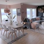Living Room Dining Room In Scandinavian Style Light Wood Dining Table Scandinavian Style Dining Chairs White Area Rug With Geometric Patterns Soft Gray Modular Sofa White Shag Rug With Geometric Patterns