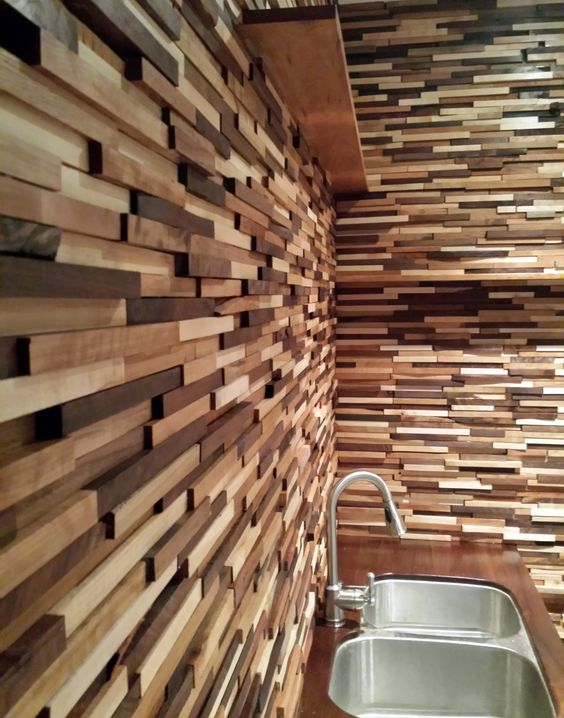 more textural wood cladding wall idea for kitchen double sinks with stainless faucet