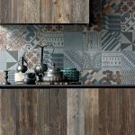 Old And Worn Out Wooden Cabinets Multicolor Tile Walls And Backsplash
