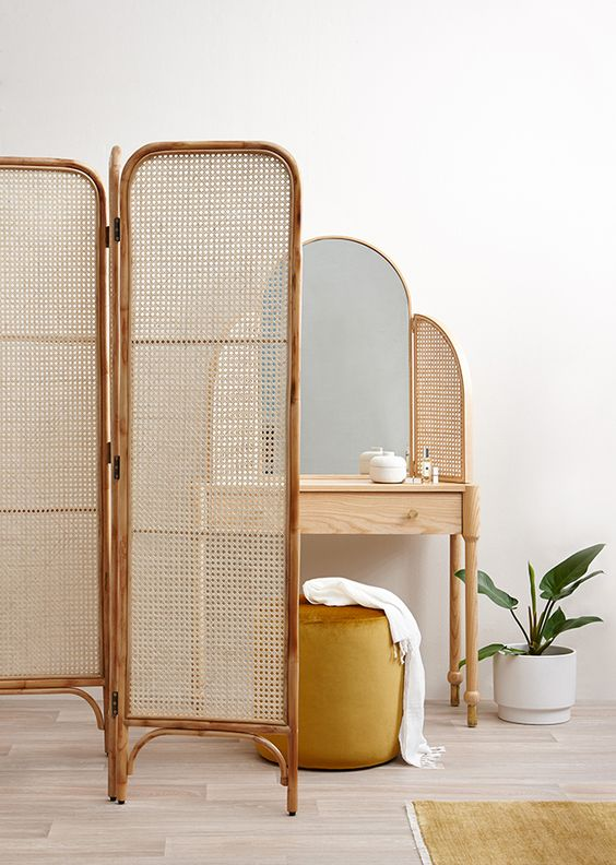 rattan room divider rattan bedroom vanity with mirror and wood frame mustard pouf