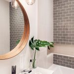 Round Wall Mirror With Inner Wood Frame White Permanent Bathroom Vanity Gray Subway Tile Walls