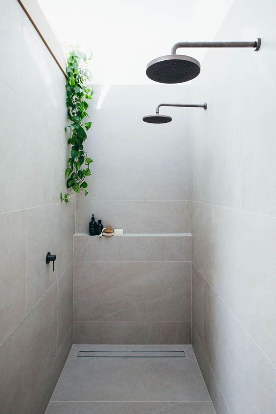 simple and low budget walk in shower with double shower heads growing vines