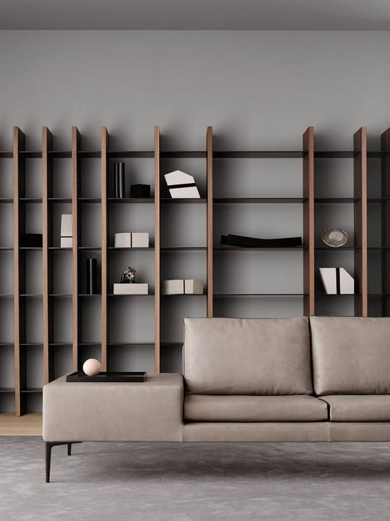 solid wood display rack in big size contemporary modular sofa in gray