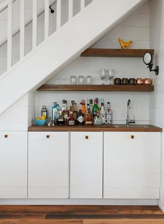 supermini home bar idea with two rows of wooden single shelf wood top counter with under cabinets