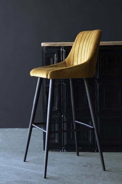 tall leg casino bar stool with golden ochre velvet