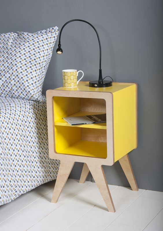 vintage nightstand in vivid yellow