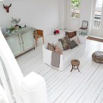 White Wood Cladding Floors White Sofa Slipcover With Mutlicolor Throw Pillows Vintage Cabinet