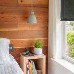 Wood Accent Wall Wall Mounted Light Wood Book Shelf Simple Modern Pendant With Gray Lampshade