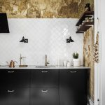 Worn Out Walls Diamond Cut Tile Backsplash In White Black Kitchen Cabinets With Brass Handles Wood Plank Floors