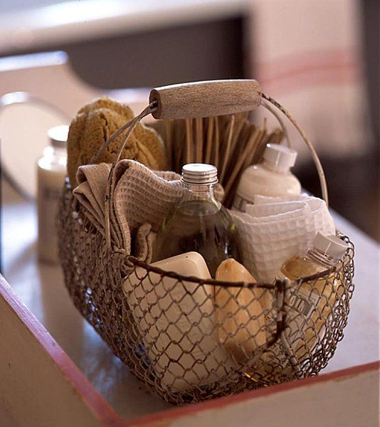 easily forgotten bath essentials on ornate basket