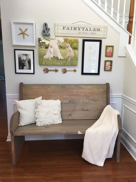 entry wood bench seat with back rest white throw blanket white throw pillows small photo gallery