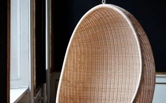 hanging egg chair made from rattan with cushion addition