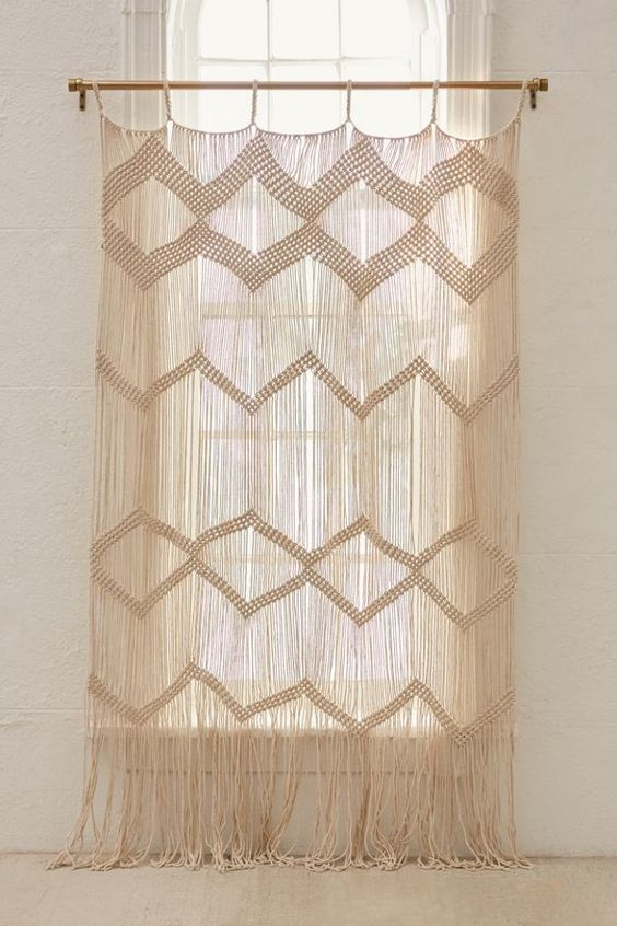 macrame panel for window as the light filter as well as the decorative window treatment