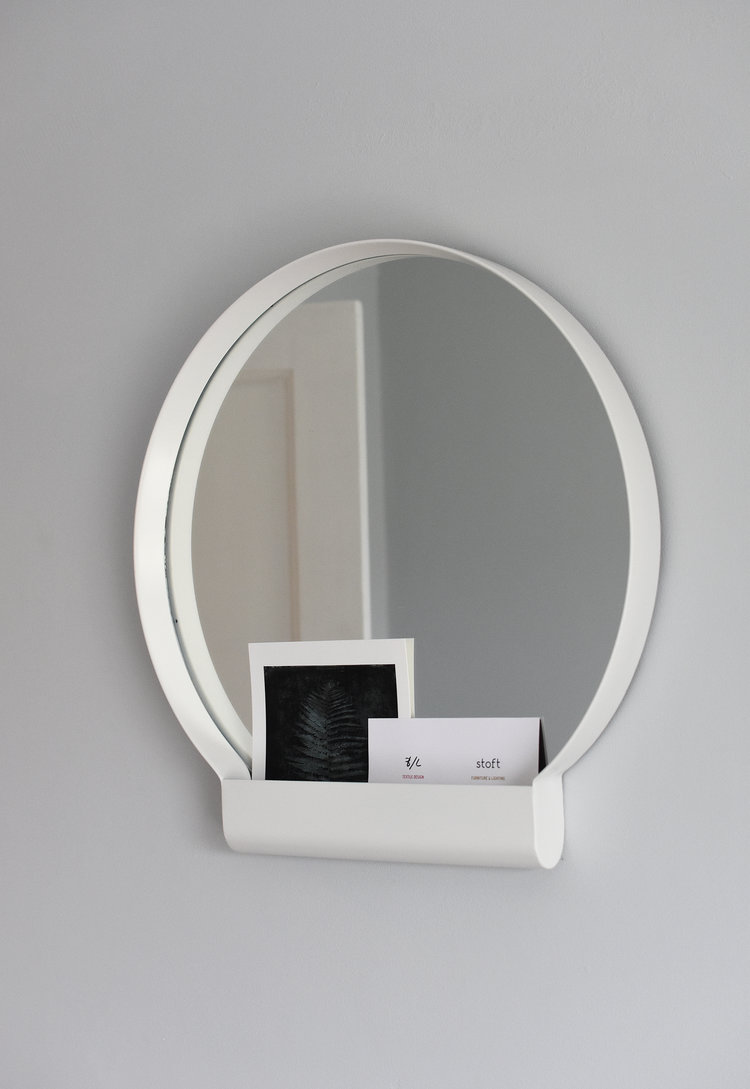 makeup mirror with white frame and note of WiFi Password and Username