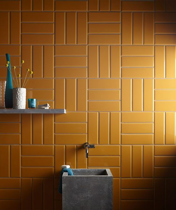 metro tile installation from Topp Tiles in mustard with bright grouts