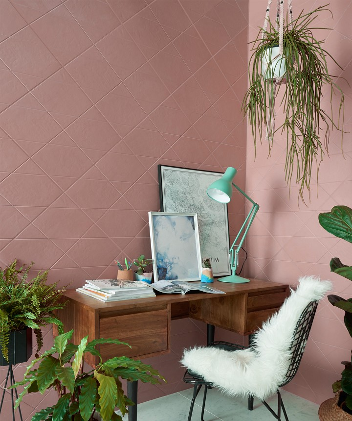 pink tile walls by Topp Tiles with same color grout wooden working table with drawer additions modern wire working chair in black with white shag throw cushion