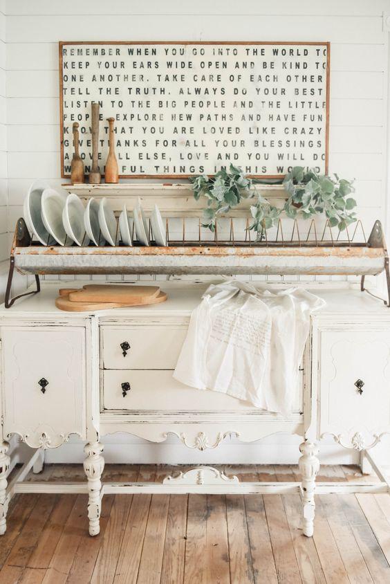 repurposed tableware shelf vintage table in white