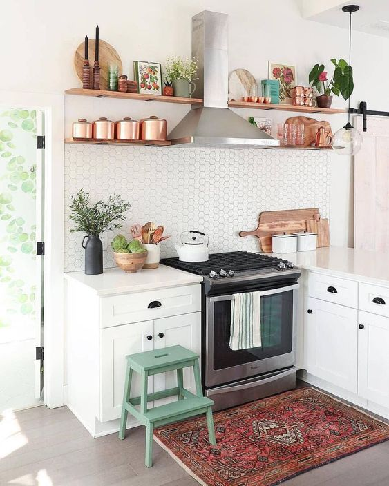 small aL shaped kitchen idea white countertop white cabinets wood shelving unit additions for ornate and tableware hexagon tile backsplash in white