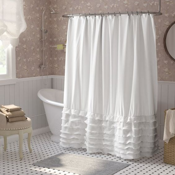 soft flower wallpaper white bathtub white shower curtain with multi ruffle vintage mosaic tiles in white vintage stool