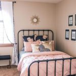 Soft Pink Bedding Black Finish Bed Frame In Classic Design Soft Pink Walls White Window Curtains With Black Pom Poms In The Edges