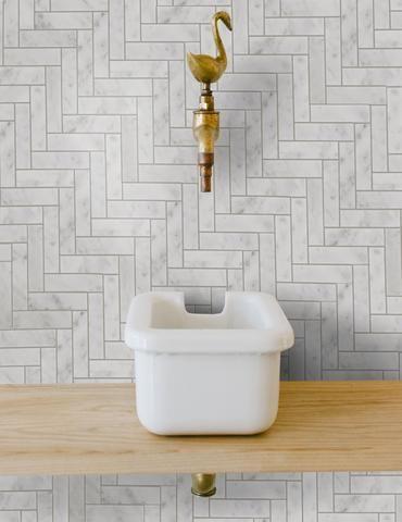 stone herringbone tile backsplash unique sink in white brass finish faucet