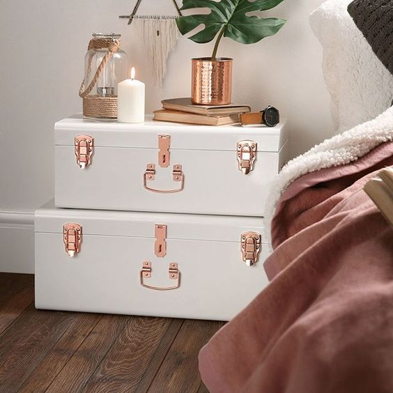 white suitcase side table