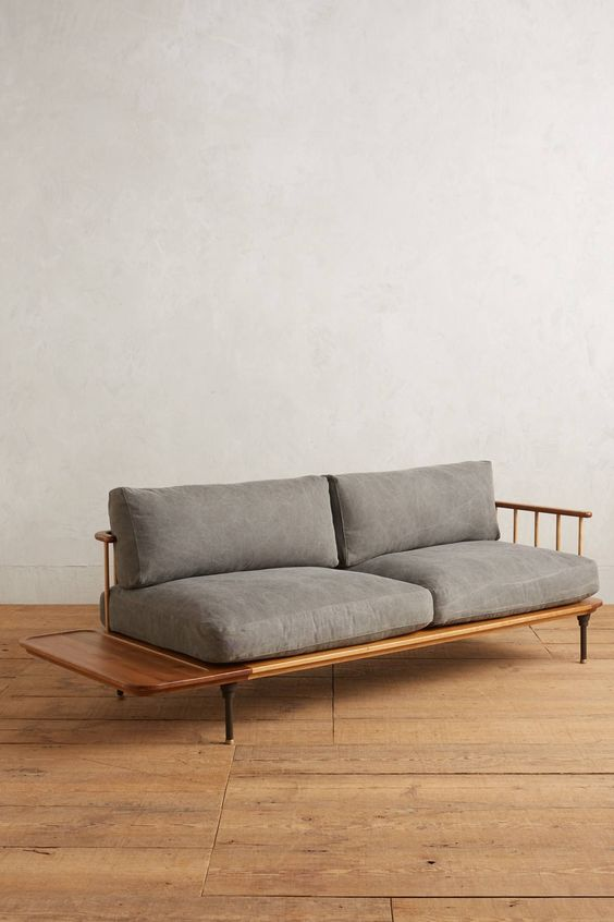 wood floors midcentury modern loveseat with additional built in side table made from wood gray cushions