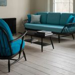 Ercol Original Sofa With Blue Cushions Elm Frame Legs And Back Rest