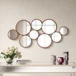 Cluster Of Round Shaped Wall Mirrors With Wood Frames