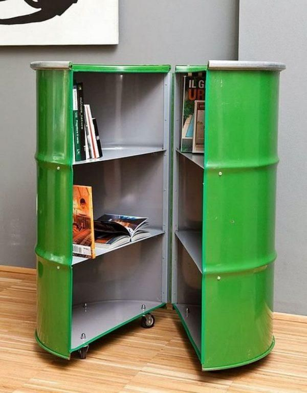 creative oil drum storage idea in green with wheels