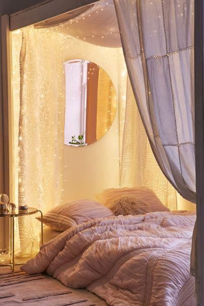firefly string lights bed curtains in white floor bed with white quilt cover